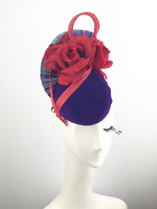 Purple Velvet Headpiece with Red Roses
