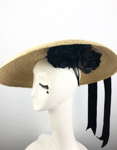 Natural Straw Hat with Black Ribbon and Flowers
