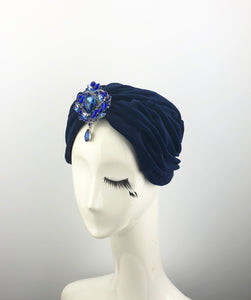 Navy Velvet Turban with Blue Jewels