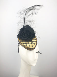 Gold and Black Feather Headpiece