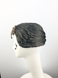 Gold and Black Turban with Orange Jewels
