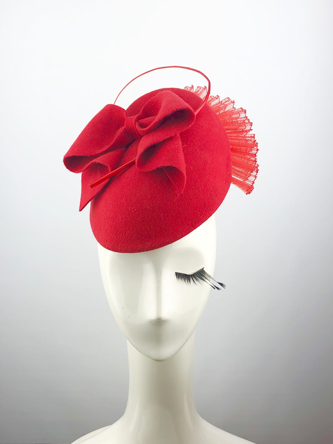 Red Felt Fan Headpiece