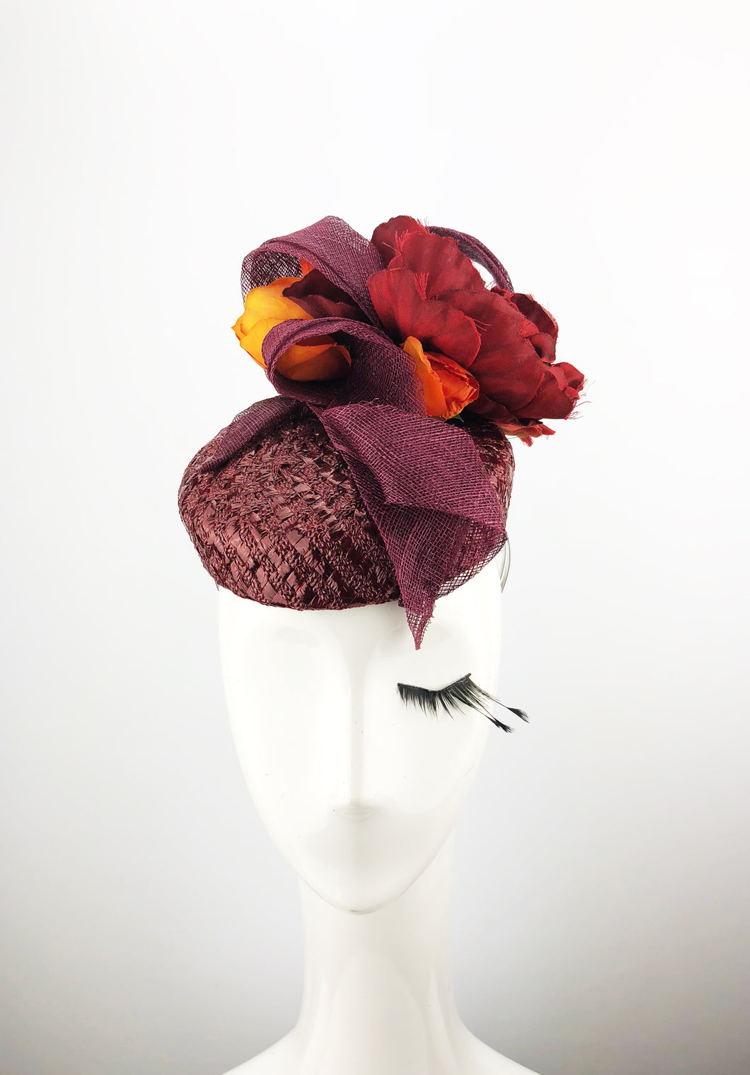Maroon Lacquered Straw Headpiece