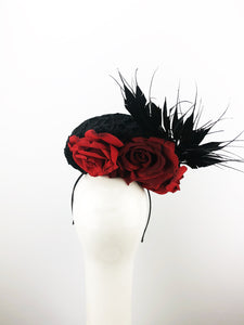 Black Felt & Lace Headpiece