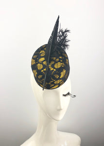 Yellow and Black Pillbox Headpiece