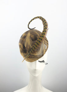 Brown Tiger Striped Sinamay Headpiece