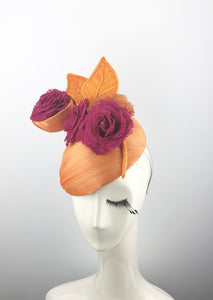 Orange Headpiece with Pink Flowers and Orange Leaves