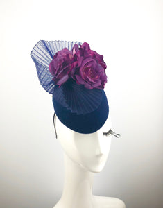 Navy Velvet Headpiece with Purple Roses