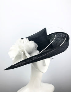 Black Sinamay Hat with White Feather Flowers
