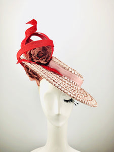 Pink Lacquered Straw Boater with Dusky Pink Flowers and Red Swirls