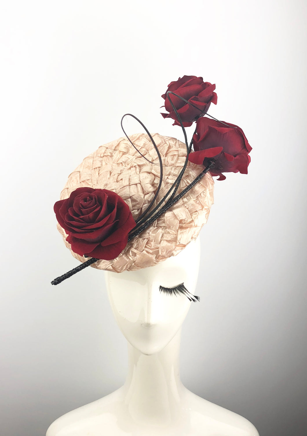 Pink Lacquered Straw Headpiece With Roses