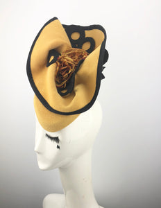 Yellow Felt Headpiece with Black Circles and Roses