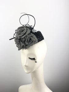 Black Lacquered Straw Pillbox Headpiece