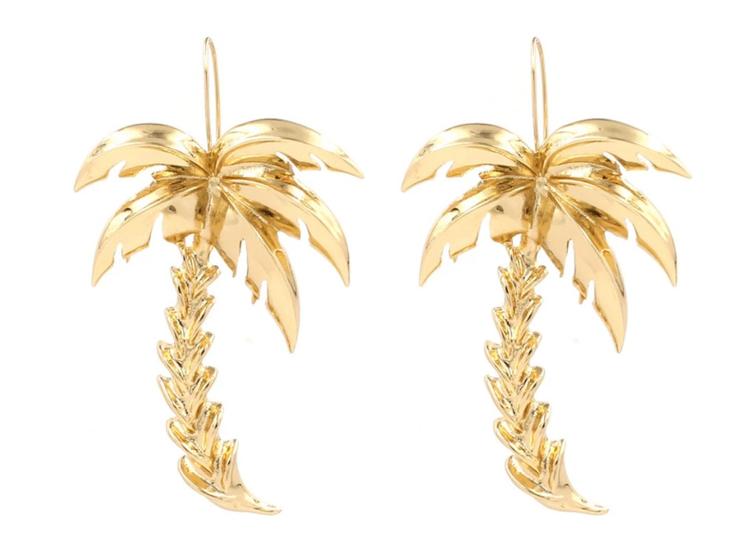Palm Tree Earrings-Gold