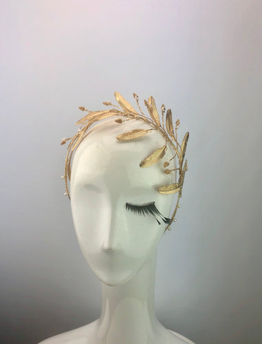 Gold Metal Feather & Seed Pearl Crown
