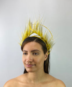 Yellow and White Ombré Feather Crown