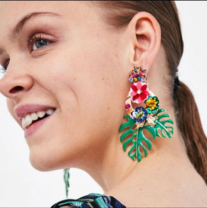 Tropical Palm Statement Earring