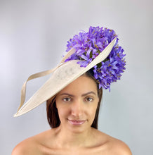 White Hat with Lavender Flowers