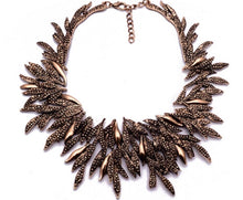 Statement Leaves Necklace - Black, Old Gold & Silver
