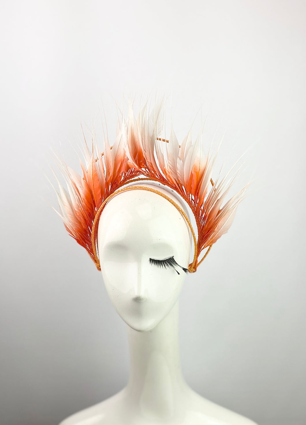 Orange and White Ombré Feather Crown