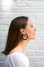 Load image into Gallery viewer, Fluffy Blue Wrap Hoops