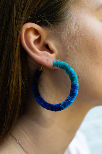 Fluffy Blue Wrap Hoops