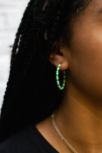 Blue/Green/Yellow Bead Hoops