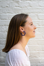 Load image into Gallery viewer, Navy Bubble Hoops