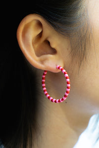 Pink/Red Bead Hoops