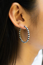 Load image into Gallery viewer, White/Graphite Grey Bead Hoops
