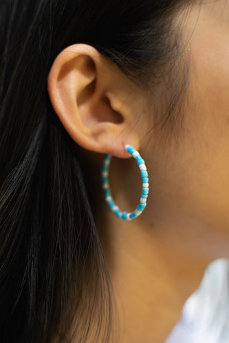 Baby Blue/White Bead Hoops