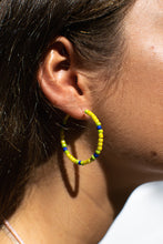 Load image into Gallery viewer, Yellow/Navy Bead Hoops