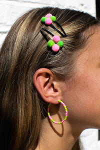 Pink/Green Bead Hoops
