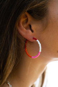 White/Pink/Red Bead Hoop