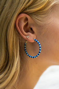 Light/Dark Blue Bead Hoops