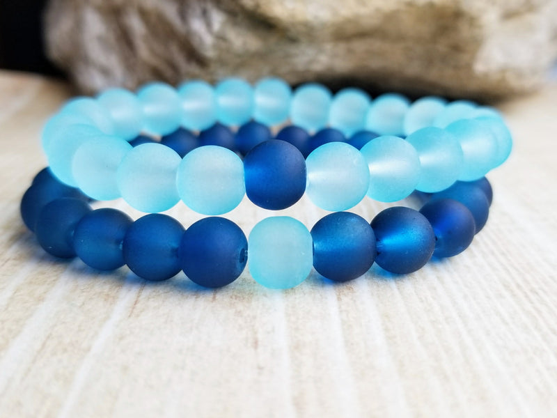 Blue Couple Friendship Beaded Bracelets