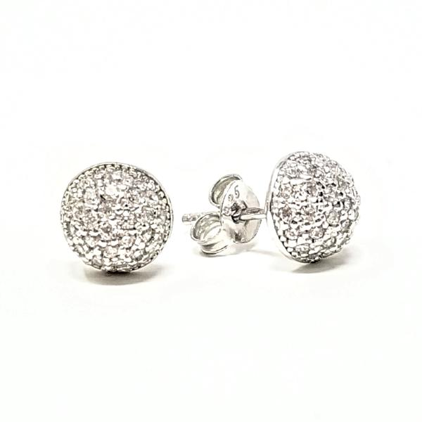 Round Pave Disc Cz Stud Earrings - - Earring