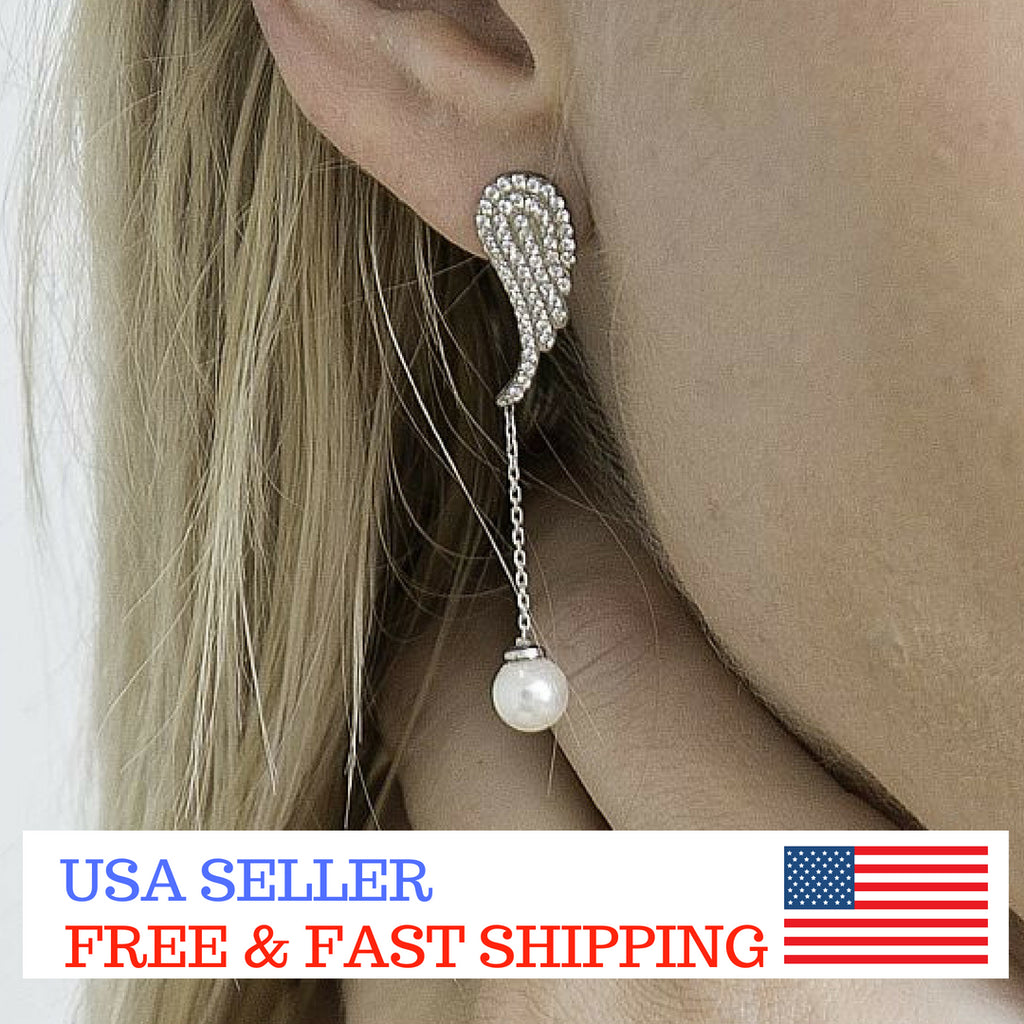 Angel Wing Pearl Drop Sterling Silver Earrings Women CZ Gift Wedding Evening