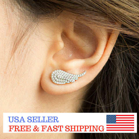 Women 925 Sterling Silver Jewelry CZ Ear Stud Earrings Angel Wing Crawler