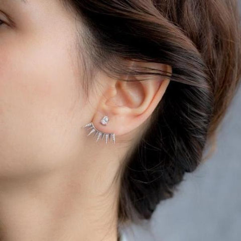 Ear Jacket Cz Sterling Silver Earrings - - Earring
