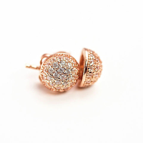925 Silver Round Pave Disc CZ Stud Earrings Rose Gold Rhodium CHOOSE YOUR COLOR