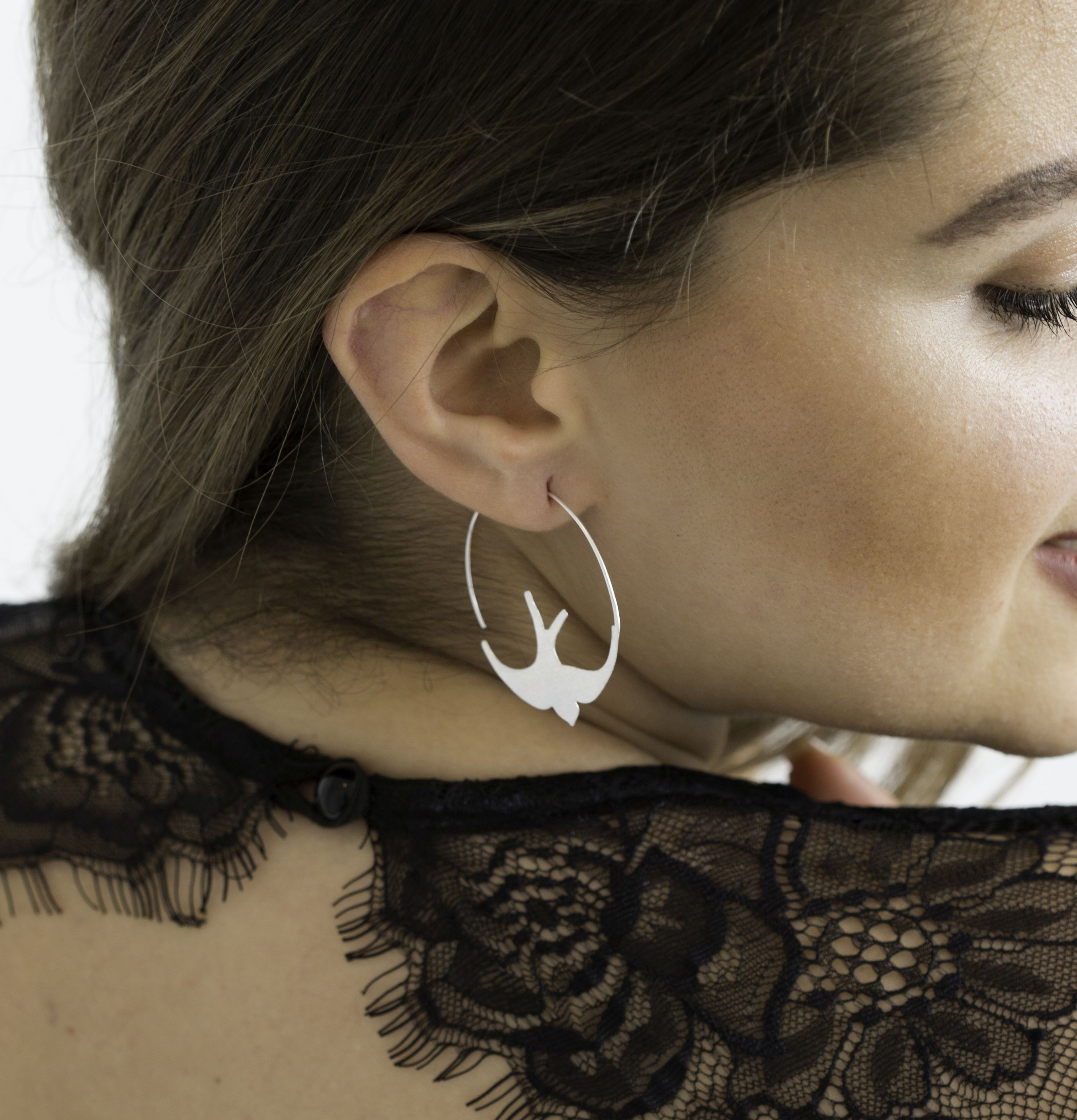 Bird Hoop Earrings
