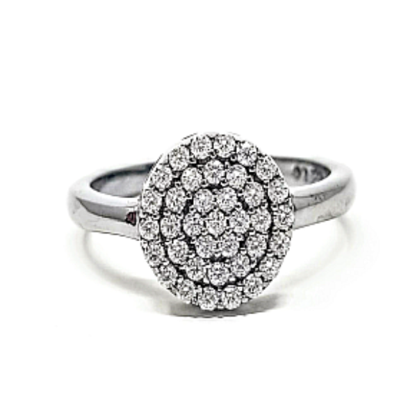 Circle Pave Sterling Silver Cz Ring - -