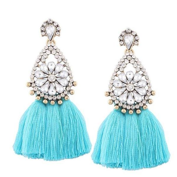 Rhinestone Blue Tassel Earrings