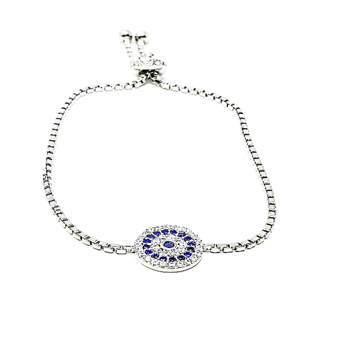 Evil Eye Adjustable Cz Bracelet - -