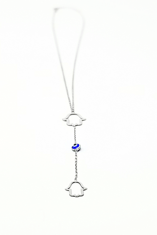 Hamsa Evil Eye Drop Necklace - -