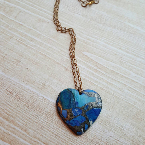 Gemstone Heart Love Necklace Brass Wire Wrapped Pendant gifts as Anniversary Love Stone Pendant Mother's Day Gift