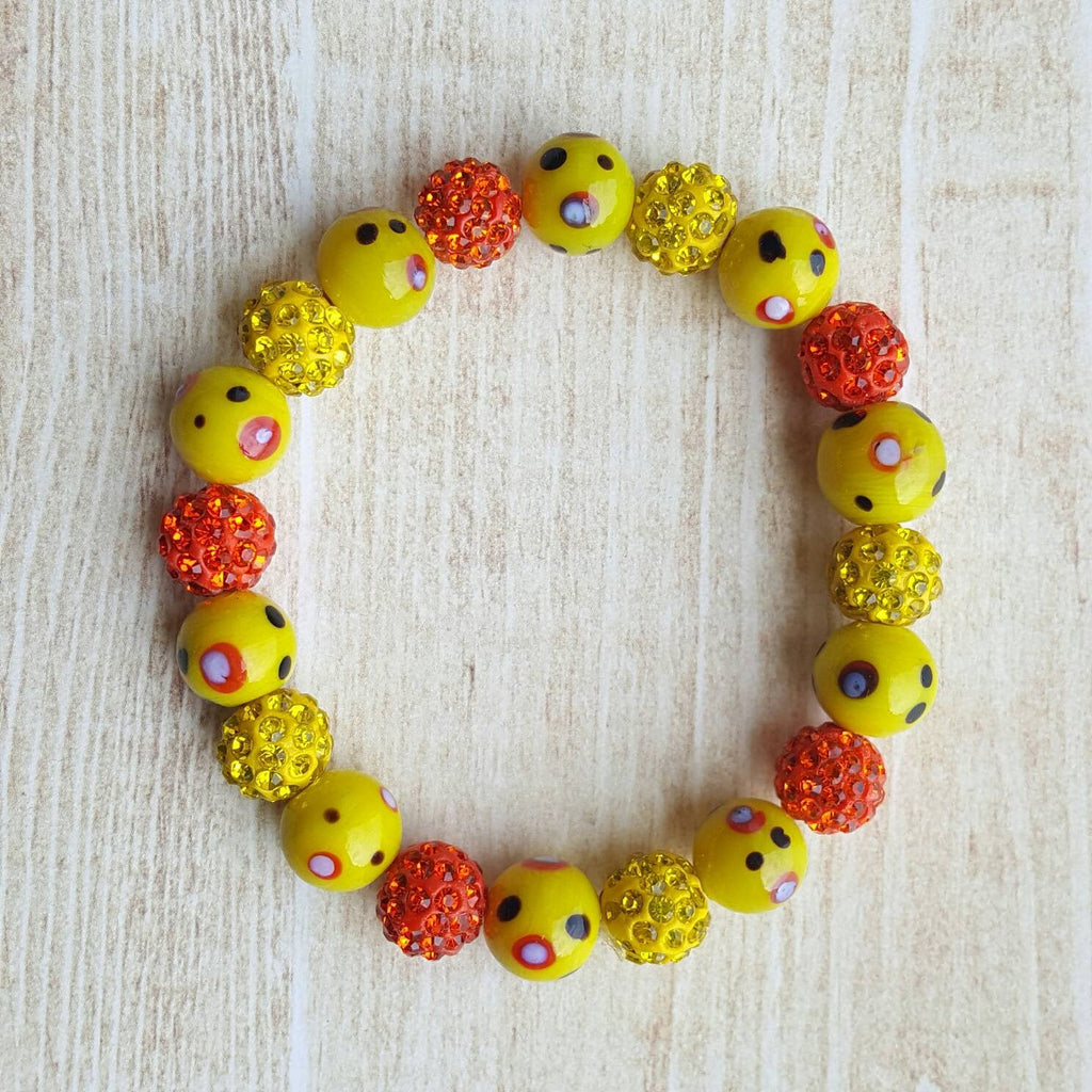 Yellow Orange Lampwork Bracelet Bead Bracelet Pave Crystal Bead Bracelet Stretchy Bracelet Stacking Bracelet Gift for Her Beadwork Bracelet