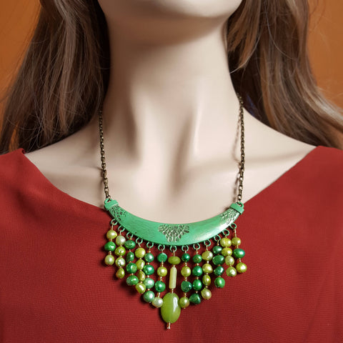 Statement Necklace Green Boho Necklace Bohemian Necklace  Boho Chic Handmade Necklace Gift Idea Beaded Bright Necklace OOAK Necklace