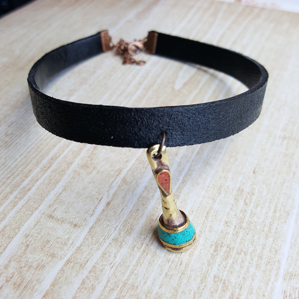 Leather Choker with Boho Bead Mother's Day Gift